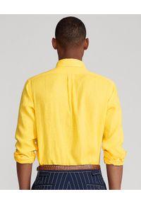 Ralph Lauren - RALPH LAUREN - Żółta koszula z lnu Slim Fit. Typ kołnierza: button down, polo. Kolor: żółty. Materiał: len. Długość rękawa: długi rękaw. Długość: długie. Wzór: haft #5