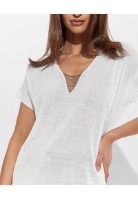 PESERICO - Biały sweter z aplikacją. Okazja: na co dzień. Kolor: biały. Materiał: len, bawełna. Wzór: aplikacja. Styl: casual