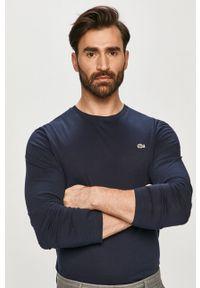 Niebieska koszulka z długim rękawem Lacoste casualowa, gładkie, na co dzień