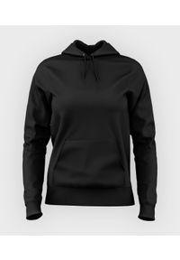 MegaKoszulki - Damska bluza z kapturem (bez nadruku, gładka) - czarna. Typ kołnierza: kaptur. Kolor: czarny. Wzór: gładki