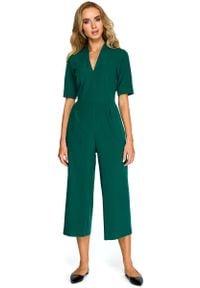 MOE - Zielony Elegancki Kombinezon ze Spodniami Typu Culotte. Kolor: zielony. Materiał: elastan, wiskoza, poliester. Styl: elegancki