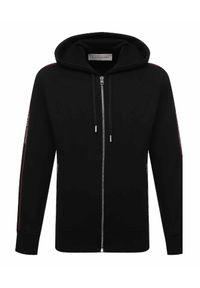 Alexander McQueen - ALEXANDER MCQUEEN - Czarna bluza z kapturem. Typ kołnierza: kaptur. Kolor: czarny. Materiał: bawełna. Długość rękawa: długi rękaw. Długość: długie. Wzór: aplikacja, nadruk