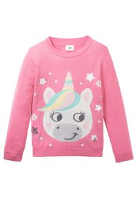 Różowy sweter bonprix długi, z aplikacjami