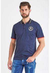 Koszulka polo Frankie Morello w jednolite wzory, sportowa, polo