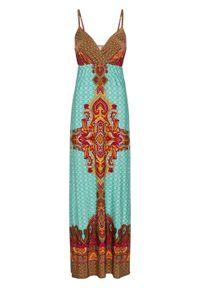 Długa sukienka letnia bonprix turkusowo-czerwony paisley. Kolor: niebieski. Wzór: paisley. Sezon: lato. Długość: maxi