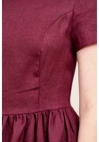 Marie Zélie - Sukienka Melania lniana oberżynowa. Materiał: len. Długość rękawa: krótki rękaw