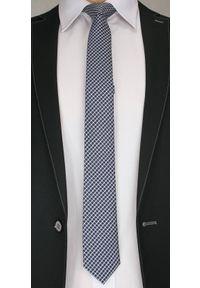 Modny Krawat Męski w Drobną Kratkę - 6cm- Alties, Granatowo-Biały. Kolor: niebieski. Materiał: tkanina. Wzór: geometria. Styl: wizytowy, klasyczny, elegancki