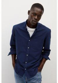 Niebieska koszula Mango Man długa, button down, z długim rękawem