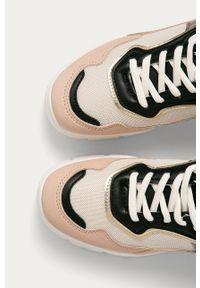 Różowe buty sportowe ANSWEAR z cholewką, na sznurówki, z okrągłym noskiem