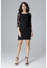 Czarna sukienka wizytowa Katrus z dekoltem na plecach