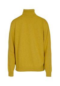 Żółty sweter VEVA z golfem, na co dzień
