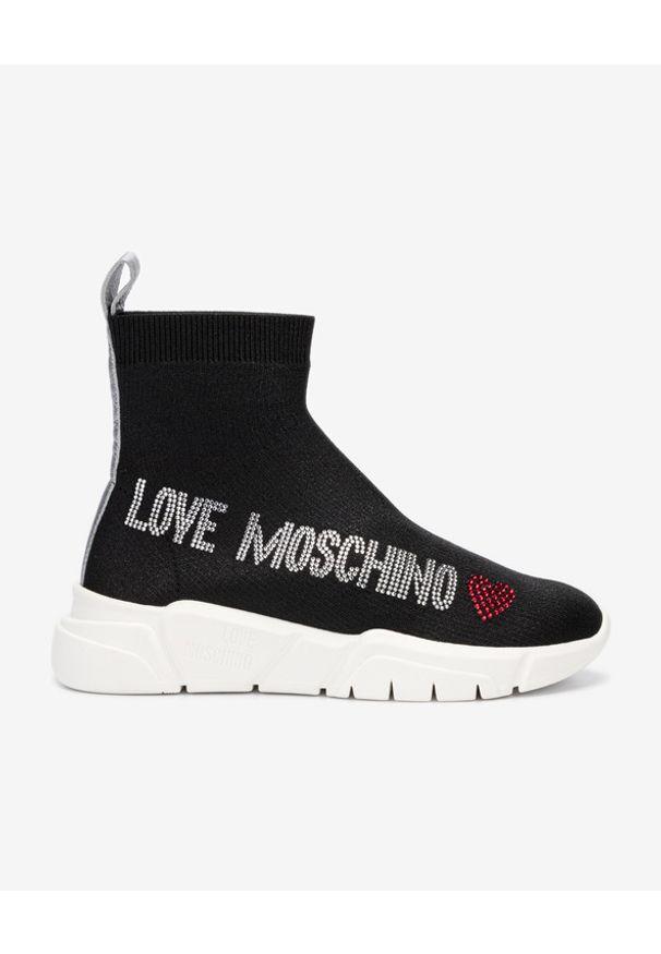 Czarne tenisówki Love Moschino z okrągłym noskiem, bez zapięcia, z aplikacjami