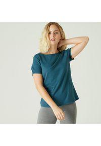 NYAMBA - Koszulka krótki rękaw fitness. Kolor: niebieski, wielokolorowy, turkusowy. Materiał: elastan, poliester, materiał, lyocell, bawełna. Długość rękawa: krótki rękaw. Długość: krótkie. Wzór: ze splotem. Sport: fitness, joga i pilates #1