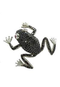 Braccatta - FELIX Srebrna broszka czarne cyrkonie żaba na szczęście. Materiał: srebrne. Kolor: srebrny, wielokolorowy, czarny. Kamień szlachetny: cyrkonia