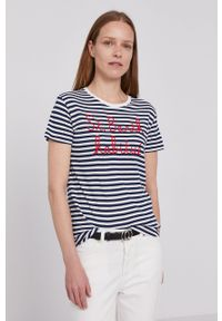 Mc2 Saint Barth - MC2 Saint Barth - T-shirt. Okazja: na co dzień. Kolor: niebieski. Materiał: dzianina. Wzór: aplikacja. Styl: casual