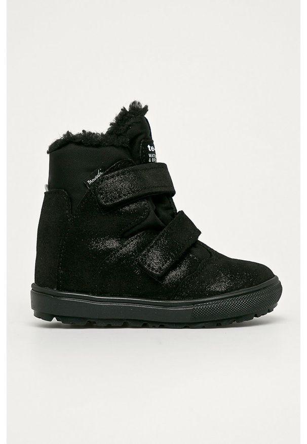 Czarne buty zimowe Mrugała na zimę, z cholewką