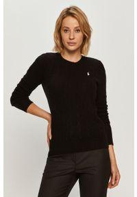 Czarny sweter Polo Ralph Lauren długi, polo, z długim rękawem