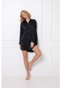 Aruelle - Koszula nocna Dominique. Kolor: czarny. Długość: długie