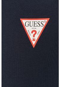 Niebieska bluza rozpinana Guess z kapturem, na co dzień, casualowa, z aplikacjami