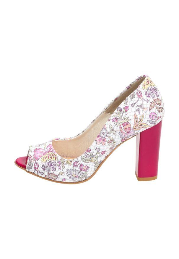 Różowe sandały Lewski na średnim obcasie, klasyczne