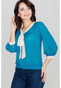 Morska bluzka Katrus elegancka, z kokardą