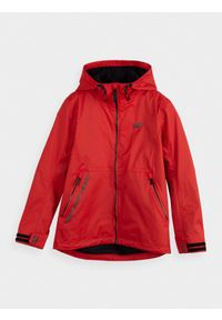 Czerwona kurtka 4f z kapturem, casualowa, na co dzień