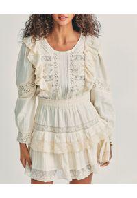 LOVE SHACK FANCY - Mini sukienka z falbankami Santorini. Typ kołnierza: kołnierz z falbankami. Kolor: biały. Materiał: bawełna, koronka, tkanina. Wzór: koronka. Typ sukienki: rozkloszowane, dopasowane. Długość: mini