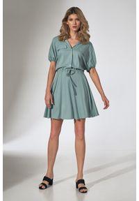 e-margeritka - Sukienka koszulowa kimonowa rozkloszowana miętowa - m. Kolor: miętowy. Materiał: wiskoza, materiał, elastan. Typ sukienki: koszulowe. Styl: elegancki
