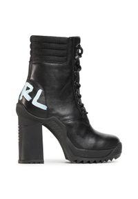 Czarne botki Karl Lagerfeld na obcasie, z cholewką