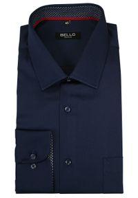 Niebieska elegancka koszula Bello do pracy, z długim rękawem, z klasycznym kołnierzykiem, długa