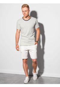 Ombre Clothing - T-shirt męski bawełniany S1385 - jasnoszary - XXL. Kolor: szary. Materiał: bawełna. Styl: klasyczny