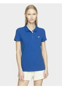 4f - Koszulka polo damska. Okazja: na co dzień. Typ kołnierza: polo. Kolor: niebieski. Materiał: dzianina. Styl: casual