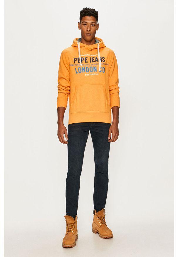 Pomarańczowa bluza nierozpinana Pepe Jeans z kapturem, na co dzień, z aplikacjami