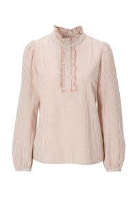 Różowa bluzka Cream w paski, z falbankami
