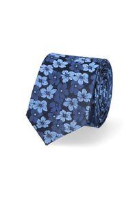 Lancerto - Krawat Granatowy w Niebieskie Kwiaty. Kolor: niebieski. Materiał: tkanina, jedwab. Wzór: kwiaty. Styl: elegancki