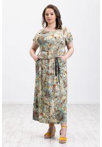 Oliwkowa sukienka Moda Size Plus Iwanek maxi, oversize