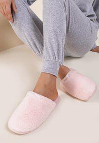 Renee - Różowe Kapcie Irinaith. Nosek buta: okrągły. Zapięcie: bez zapięcia. Kolor: różowy. Materiał: welur, futro. Szerokość cholewki: normalna. Obcas: na płaskiej podeszwie