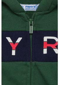 Zielona bluza rozpinana Mayoral z kapturem, casualowa, z nadrukiem, na co dzień