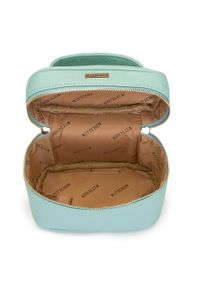 Wittchen - Damska kosmetyczka kuferek mała. Kolor: miętowy. Materiał: skóra ekologiczna. Wzór: kolorowy, aplikacja