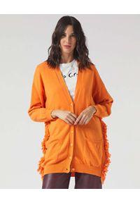 Manila Grace - MANILA GRACE - Pomarańczowy kardigan z frędzelkami. Kolor: pomarańczowy. Długość rękawa: długi rękaw. Długość: długie. Wzór: aplikacja