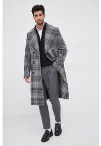 BOSS - Boss - Płaszcz wełniany. Okazja: na co dzień. Kolor: szary. Materiał: wełna. Styl: klasyczny, casual