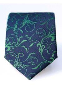 Modini - Granatowy krawat męski we florystyczny wzór C8. Kolor: niebieski. Materiał: tkanina, mikrofibra