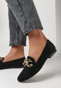Born2be - Czarne Zamszowe Mokasyny Phaeronia. Nosek buta: okrągły. Zapięcie: bez zapięcia. Kolor: czarny. Materiał: zamsz. Wzór: aplikacja. Obcas: na obcasie. Wysokość obcasa: niski