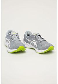 Szare buty sportowe Asics z cholewką, na sznurówki, z okrągłym noskiem