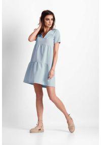 Niebieska sukienka wizytowa IVON na lato, z falbankami