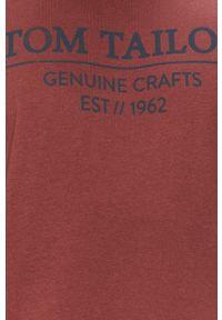Brązowy t-shirt Tom Tailor Denim na co dzień, z nadrukiem