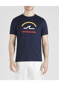 PAUL & SHARK - T-shirt z bawełny organicznej z logo. Kolor: niebieski. Materiał: bawełna. Wzór: nadruk. Styl: klasyczny