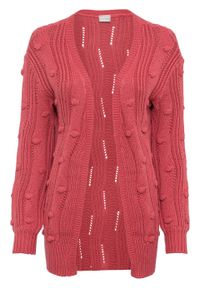Różowy sweter bonprix z dekoltem w serek