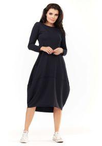 Niebieska sukienka dresowa Awama bombki, z długim rękawem, midi