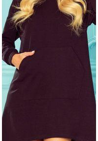 Numoco - Długa bluza kangurka o kroju dzwonka z kapturem czarna. Typ kołnierza: kaptur. Kolor: czarny. Długość: maxi
